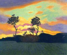 Felix Vallotton (Swiss, 1865-1925) - Landscape at Sunset - 1919