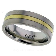 Geti Flat Titanium and Yellow Grooved Ring