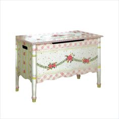 Hand Painted Toy Chest | Crackled Rose Room Hand Painted Girl's Toy Chest by Teamson Design