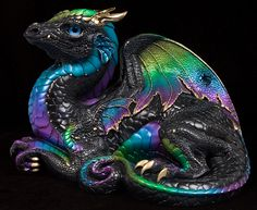 """Here is the """"Black Violet Peacock version 2"""" Old Warrior Dragon. Pam wins the name battle, but I get to point out that this dragon actually sports the colors of an Emerald Peacock drago…"""