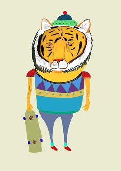 Tiger Skateboarder. Children's illustration by AshleyPercival, $30.00