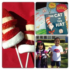 Kick off Dr. Seuss reading month for your child's class or school with yummy healthy treats. Cut jumbo marshmallows in half as the brim of the hat.  Slice each large strawberry into thirds with banana slices in between. Long lollipop sticks are the best.