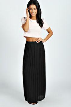 Kadie Pleated Woven Maxi Skirt at boohoo.com