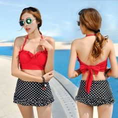 Online Shop 2015 New Arrival Real Free Shipping Print Modest High Waist Dot Swimwear Women Set Push Up Gathered Tankini Swimsuits Women |Aliexpress Mobile