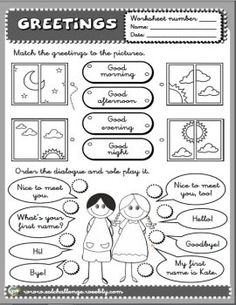 Greetings - WORKSHEET (B/W)