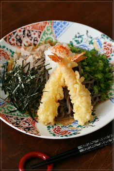 Ebi-ten Oroshi Soba, Japanese Soba Noodles with Prawn Tempra and Raw Grated White Radish (Oroshi)|海老天おろし蕎麦