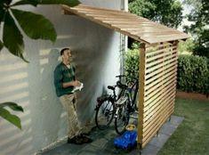 shed diy Fahrradgarage und Bikeport selber bauen Pool Storage, Garden Tool Storage, Storage Shed Plans, Garage Storage, Storage Ideas, Art Storage, Outdoor Storage Sheds, Garage Organization, Gazebo