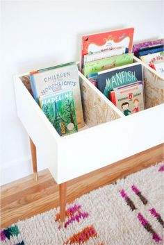 Stylish And Elegant DIY Low Kids' Books Bin | Shelterness