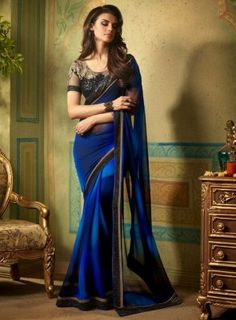 Shaded #RoyalBlue and #Black Sequins Embroidered #Saree Features georgette saree with matching blouse.
