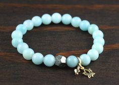 Women's Amazonite Bracelet - Lotus Flower Bracelet - Women's Yoga Bracelet
