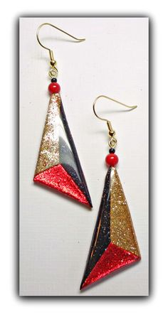 Red Triangle Drop Earrings, polymer clay jewelry. $16.00, via Etsy.