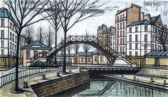 """""""Bernard Buffet  (1928-1999) """" Canal St-Martin."""""""""""