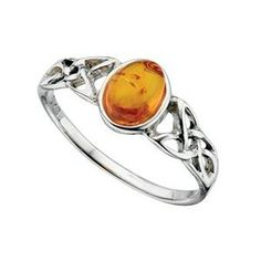 Amber Celtic Detail Ring in Sterling Silver- Size R 1/2