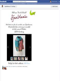 Sjaalmania Korting Actie Tab, fan view. 100% gratis via Webdoc & Static Html. Fangate + Tekst + Slideshow + Link + Facepile. $0.01