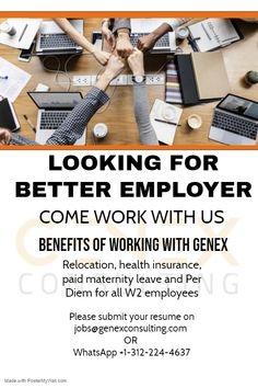 Come work with us, We provide best employment benefits to all our W2 employees working across United States.   We accept all candidates who are authorized to work in United States without sponsorship and are willing to work on W2 of Genex Consulting Inc.    Genex Consulting Inc. does sponsor H1b to F1-OPT/STEM & H4 EAD candidates.  #Genex #GenexJobs #H1b #OPT #EAD #employer #employement #Work #CCNA #Networking #firewall #WorkWithGenex #america #chicago #studentvisa It Network, Job Opening, Health Insurance, Good Job, F1, Chicago, United States, Student