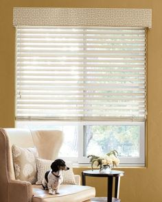 living room and guest room? Tailored Cornice - X Boudoir Pillow - Tailored Square Pillow - 2 Wood Blinds - 13428 Smith And Noble, Wood Blinds, Window Blinds, Custom Windows, Cornice, Window Treatments, Guest Room, New Homes, Pillows