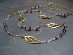 Garnet necklace amethyst and garnet leafs necklace wire