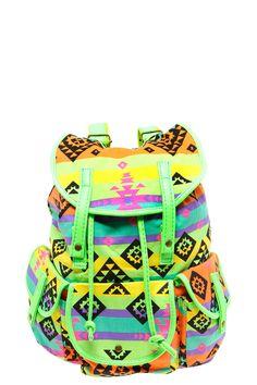 Guys, my BFF Kelli Kapowski lent me this backpack. It& so rad. Aztec Backpacks, Cool Backpacks, Aztec Bag, Backpack Purse, Rucksack Bag, Cute Bags, Neon Colors, Purses And Handbags, Book Bags