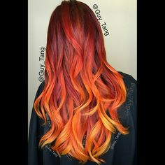 """The Phoenix firebird. Lifted using #balayage method with ammonia free lightner #kenra with 40vol and deposit @kenraprofessional red,orange and yellow…"""