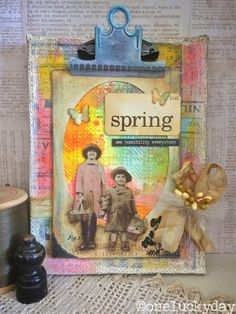 One Lucky Day: Think Spring! mixed media canvas using Tim Holtz, Ranger, Idea-ology, Sizzix and Stamper's Anonymous products; Mar 2015