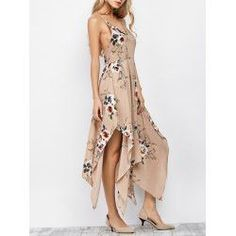 Spaghetti Strap Floral Print Maxi Handkerchief Dress