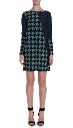 TIBI HOUNDSTOOTH JERSEY SHIFT DRESS