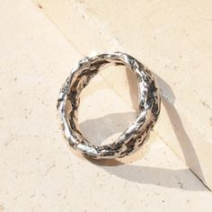 Sterling Silver Ring Hammered Ring Uneven Rings by GlamSlamMaker, $65.00