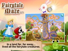 Fairytale Maze 123 for iPad - a set of 20 mazes based on popular fairy tales: The Three Little Pigs, Pinocchio, The Little Mermaid, Little Riding Hood, Cinderella, The Wizard of Oz, Peter Pan, Rapunzel, Snow White and Seven Dwarfs, Hansel and Gretel, Aladdin, The Pied Piper, Puff the Magic Dragon, The Frog Prince, Alice in Wonderland, Goldilocks and the Three Bears, Jack and the Beanstalk, Robin Hood, Beauty and the Beast, Peter and the Wolf. Original Appysmarts score: 85/100 Popular Fairy Tales, Fairy Tales For Kids, Pony App, Puff The Magic Dragon, Fairytale Creatures, Educational Apps For Kids, App Of The Day, Goldilocks And The Three Bears, Apple Apps