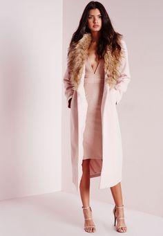 blush pink wool coat with knockout faux fur tan collar