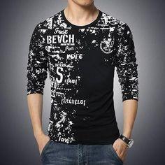 Men Print Cotton T-Shirts, Plus Size, Black, Navy, Gray, White
