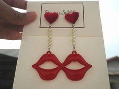 red lip acrylic dangle  earrings/ stud earrings/ handmade earrings/ custom made earrings by ommiesukkho on Etsy