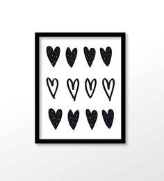 $2.99 Heart Print Heart Wall Art Black Heart Digital by dadaprintables