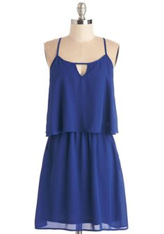 Let's Get Movin' Dress - Blue, Solid, Casual, A-line, Spaghetti Straps, Spring, Woven, Mid-length, Cutout, Pockets, Tiered