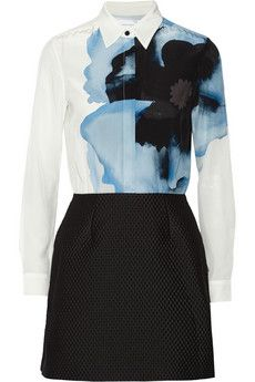 Victoria, Victoria Beckham Printed silk crepe de chine and jacquard mini dress | THE OUTNET