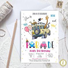 Editable Drive By Safari Birthday Parade Invitation, Virtual Party Invite,  Car Girl Pink Quarantine, Instant Download Digital, YOU PRINT Party Invitations, Invite, 3rd Birthday, Birthday Cards, Party Printables, Baby Announcement Cards, Pink Girl, Preschool Graduation, Safari