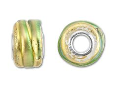 Murano Style Glass 8x12mm Gold and Green Wheel Bead (4.7mm Hole) $10.50