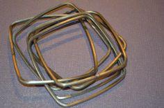 Estate Square Interlinking Silver Bangle Bracelet (n98)