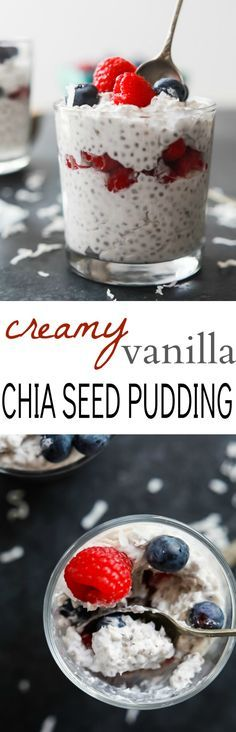 Creamy Vanilla Chia Seed Pudding - learn how to make a basic chia seed pudding using just 5 ingredients. This Chia Seed Pudding is dairy free, refined sugar free, slightly sweet, with a pop of flavor you'll get addicted to! Bring on the dessert! | joyfulhealthyeats.com #paleo