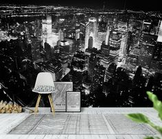 New York black and white Wallpaper from Happywall.com