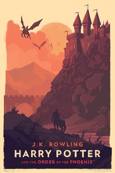 Minimalist Harry Potter posters by Olly Moss : Harry Potter and the Order of the Phoenix - poster by Olly Moss Harry Potter fans will love these simple, magic, vintage-looking art prints by Olly Moss. How do you like the 2015 covers of… Harry Potter Poster, Harry Potter Book Covers, Mundo Harry Potter, Harry Potter Universal, Harry Potter Movies, Harry Potter World, Harry Potter Wall Art, Harry Potter Style, Harry Potter Hogwarts