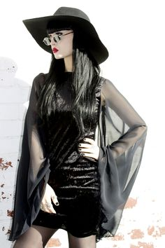 Image of ADELE PSYCH 'BEWITCH' Black Velvet and Chiffon Dress