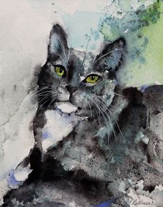 Watercolor painting, cat, cat painting, watercolor, painting, animals