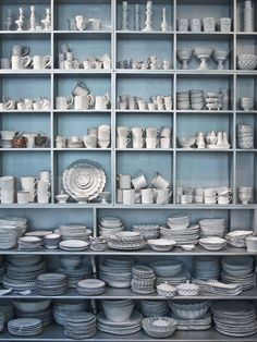 Astier Villatte, Fleaing France Brocante Society ~ shelves of white pottery and gorgeous ceramics simple and elegant Paint Shades, White Dishes, Butler Pantry, Home Remodeling, Sweet Home, Blue And White, Dining, Beautiful, Home Decor