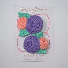 Crochet hair clippies IG @craftsnreveries fb /craftsnreveries