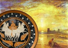 Match between Turner's Sun and Sun god in Apulian pottery. Hand painted reproduction by Painted Pottery, Pottery Painting, Greek Pottery, Will Turner, Ancient Greek, Terracotta, Art Nouveau, Liberty, Hand Painted