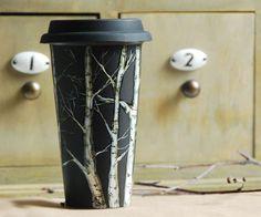 Eco-Friendly  Black Ceramic Coffee Mug - Birch Trees - made to order. $85.00, via Etsy.