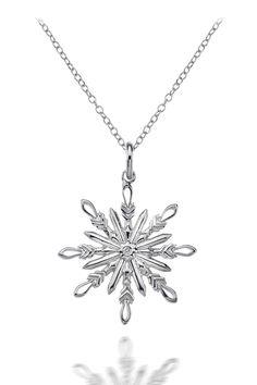 ItalGem Silver Diamond Snowflake Necklace - Beyond the Rack