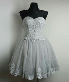 Elegant Prom Dress,Short Prom Dress with Appliques,Lace Prom