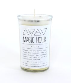 """Air Candle by Magic Hour, $20, Summerland. """"I love bringing some element of fire and light into my mantel, and especially like allowing for a small, simple ritual when I'm lighting candles. A dear friend of mine, Brandie Taylor, hand makes these incredible ritual candles, perfect for manifesting wishes, clearing and cleansing space, and a variety of other intentions."""" --Lauren Shields"""