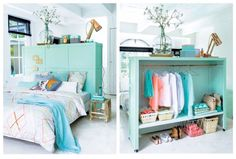 Multi-functional furniture is key in small spaces, and this headboard / room divider / closet and storage unit really hits the mark! Amazing idea. And it looks DIY-able to me.